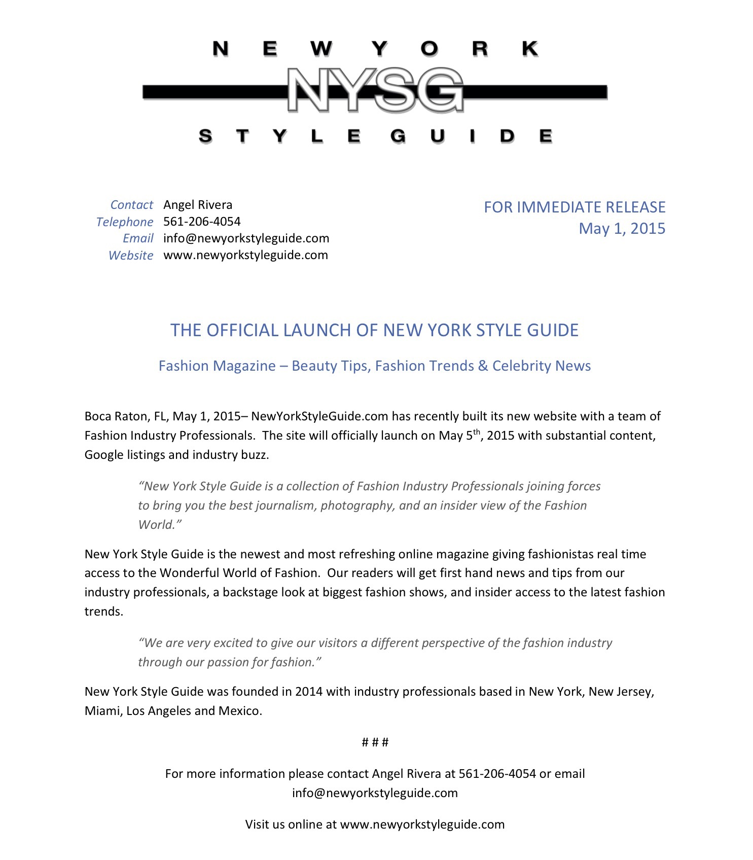 New York Style Guide Press Release New York Style Guide