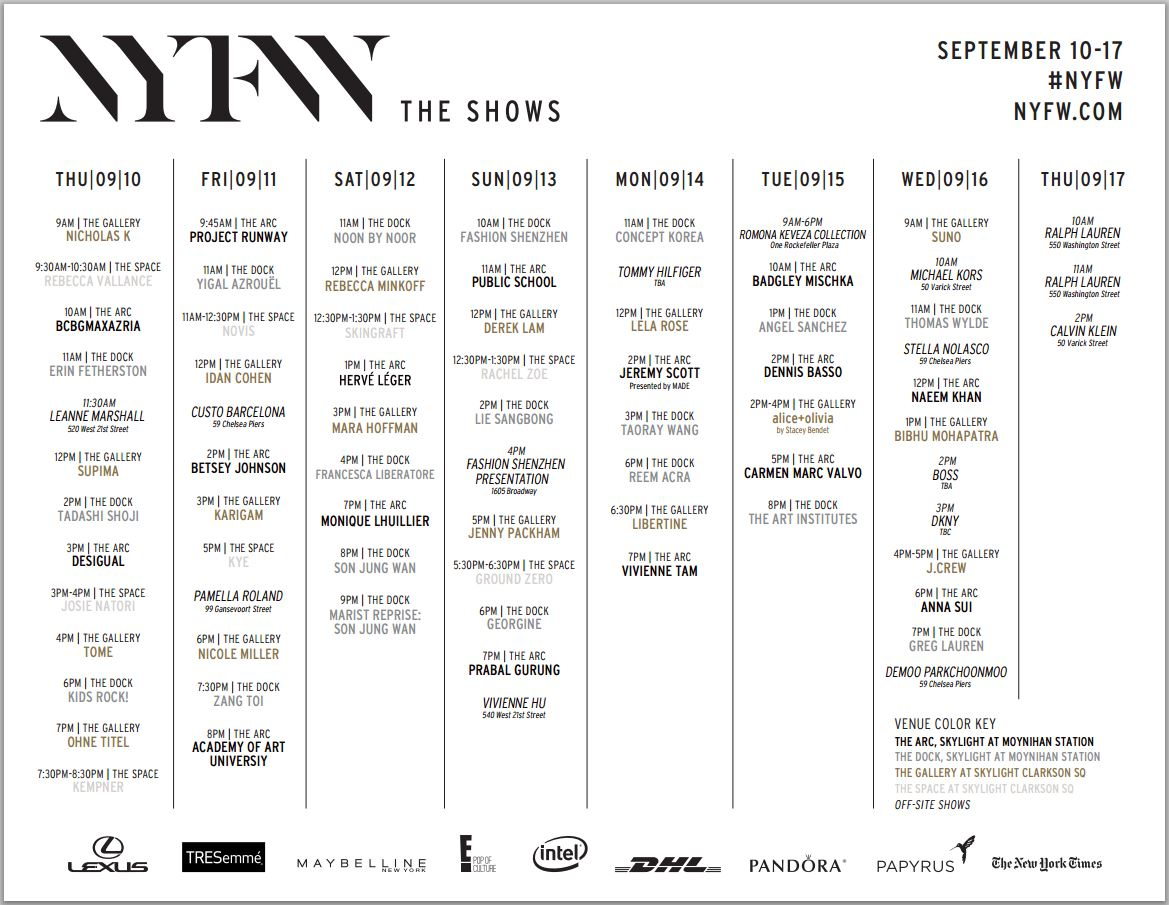New York Fashion Week Nyfw The Shows Schedule