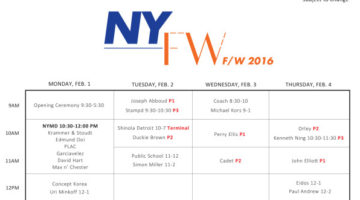 New York Fashion Week Men's Schedule