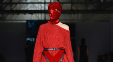 Strapping Headgear at the A.F.VANDEVORST Show for LFW