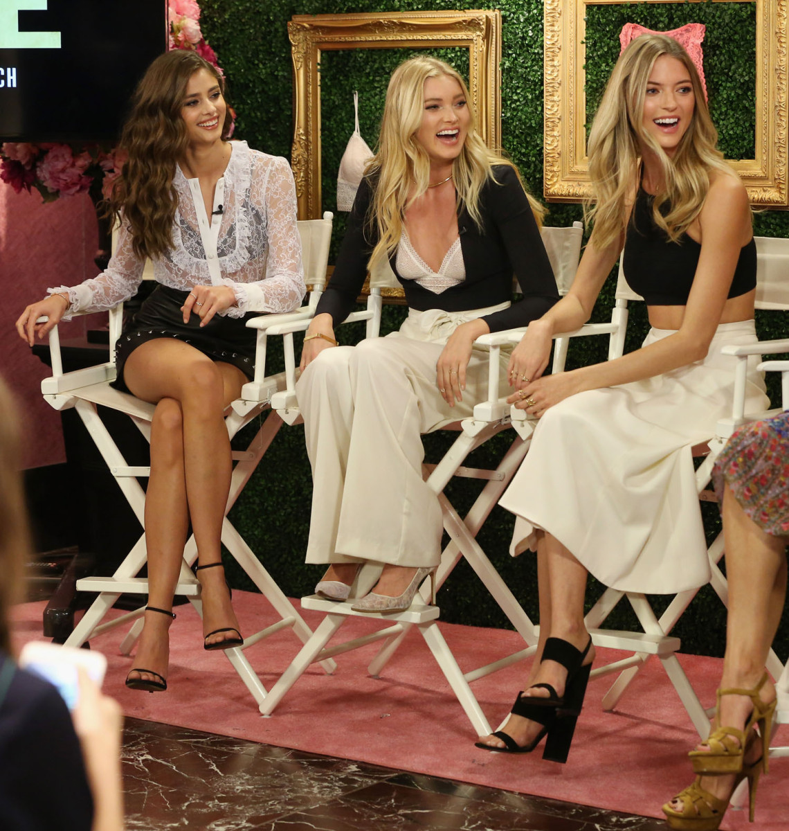 """""""NEW YORK, NEW YORK - APRIL 12: (L-R) Victoria's Secret Angels Taylor Hill, Elsa Hosk and Martha Hunt host global media live stream to reveal Bralette Collection & launch multi-city tour at Victoria's Secret Herald Square on April 12, 2016 in New York City (Photo by Cindy Ord/Getty Images for Victoria's Secret)"""""""