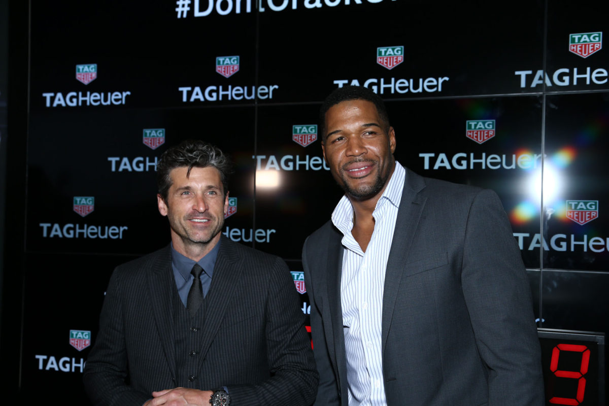 Patrick Dempsey and Michael Strahan attend the TAG Heuer At TimeCrafters NYC 2016 on May 12, 2016 in New York City. Credit: John Nacion Imaging