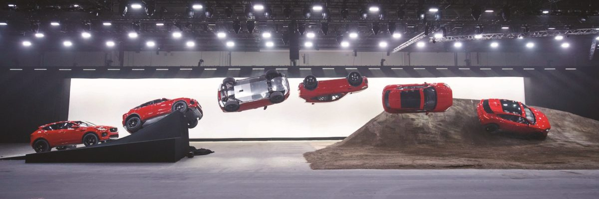 NO ONLINE -- USE PRIOR TO THIS TIME..Jaguar and stunt driver Terry Grant set a new Guinness World Record for longest barrel roll at the global launch of the new Jaguar E-PACE at ExCel London.