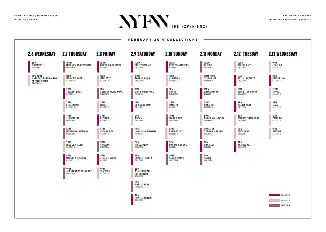 New York Fashion Week - February 2019 Schedule