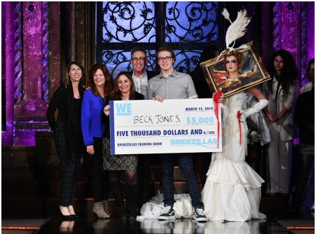 WE tv executives Angela Molloy, VP Development; Kate Farrell, VP Original Programming; Lauren Gellert, EVP of Development & Original Programming; Marc Juris, President & GM pose with grand prize winner designer Beck Jones during WE tv's fashion event celebrating the return of 'Bridezillas' on March 13, 2019 at Angel Orensanz Foundation in New York City. (Photo by Dia Dipasupil/Getty Images for WEtv)