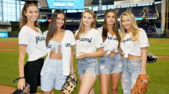 SPORTS ILLUSTRATED SWIMSUIT MODEL SEARCH WINNER BROOKS NADER THROWS FIRST PITCH AT MIAMI MARLINS GAME