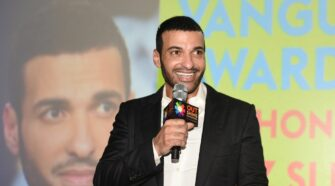 Actor Haaz Sleiman accepting the Outshine Film Festival Vanguard Award