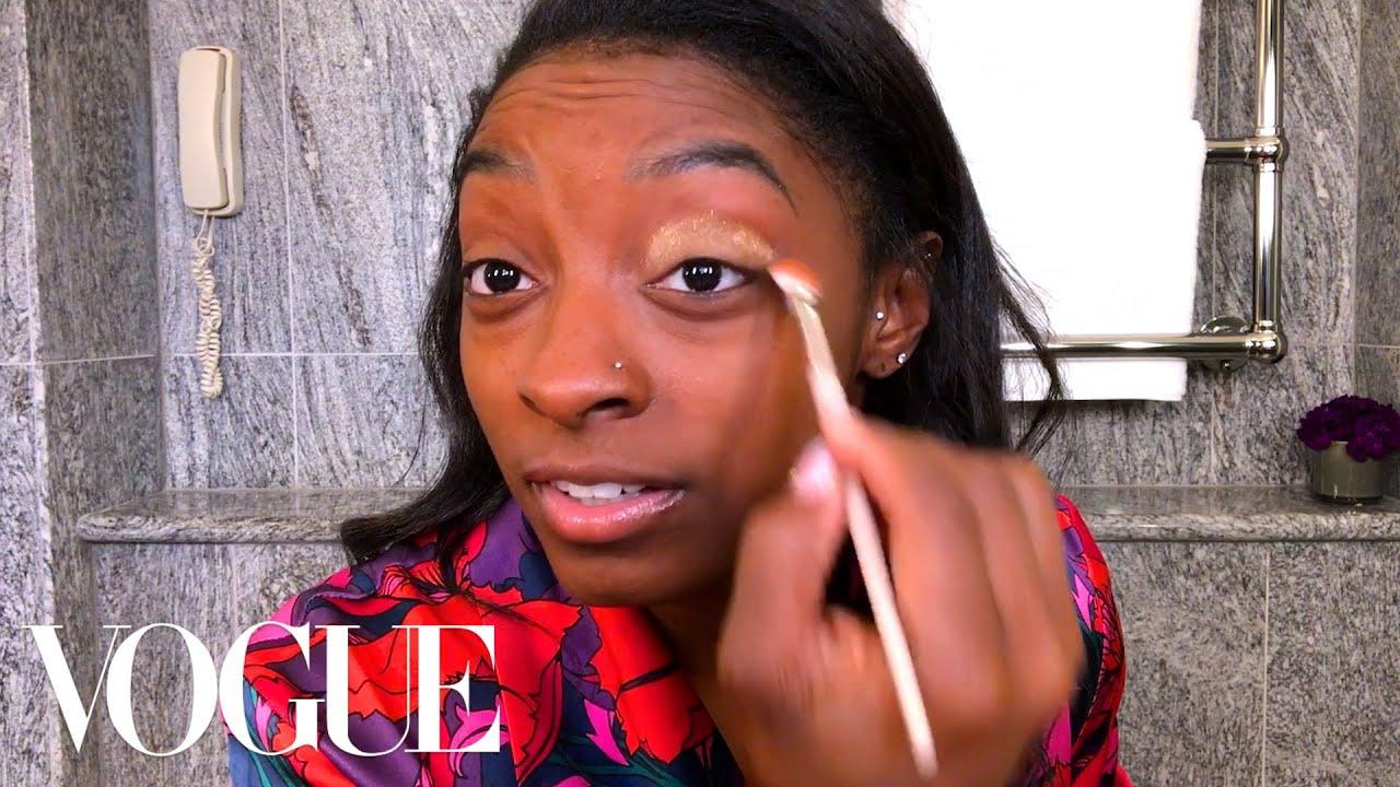 Simone Biles's Guide to Gold Eye Makeup   Beauty Secrets   Vogue