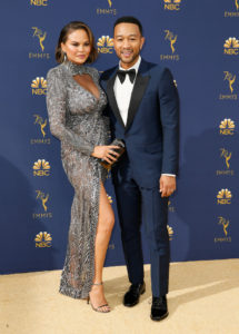 Chrissy Teigen, left, and John Legend arrive at the 70th Primetime Emmy Awards on Monday, Sept. 17, 2018, at the Microsoft Theater in Los Angeles. Photo by Danny Moloshok