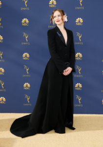 Evan Rachel Wood arrives at the 70th Primetime Emmy Awards on Monday, Sept. 17, 2018, at the Microsoft Theater in Los Angeles. Photo by Danny Moloshok
