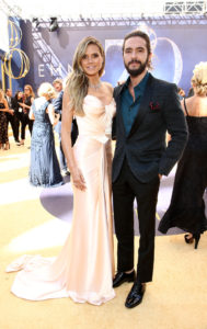 Heidi Klum, left, and Tom Kaulitz arrive at the 70th Primetime Emmy Awards. Photo by John Salangsang