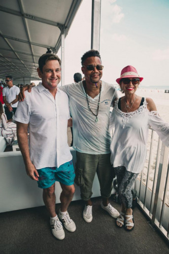 Commissioner Michael Gongora  Cuba Gooding Jr at World Polo League Beach Polo 2021 - Photo Credit Willy Dade