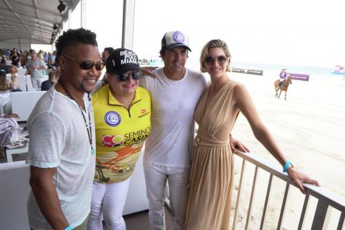 Cuba Gooding Jr, Melissa Ganzi, Nacho Figueras, Delfina Blaquier at the 2021 World Polo League Beach Polo, Miami Beach - Photo Credit Mike Leandre