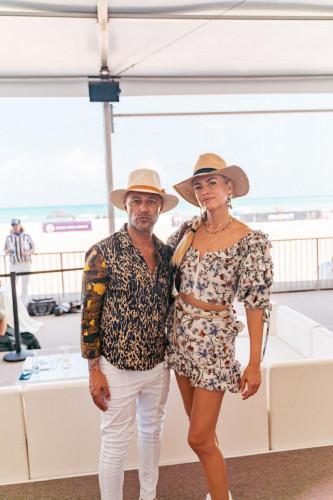 Gaby Alvarez at World Polo League Beach Polo 2021 (left) Photo Credit Philip Talleyrand