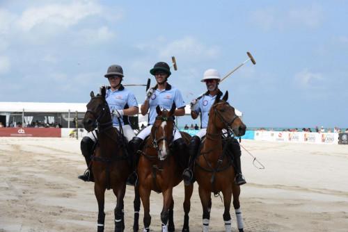 Marc Ganzi, Nic Roldan, Horacio Heguy - The Ritz Carlton-GFI Team - World Polo League Beach Polo 2021 Credit Mike Leandre