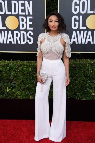 Jeannie Mai arrives at the 77th Annual Golden Globe Awards at the Beverly Hilton in Beverly Hills, CA on Sunday, January 5, 2020.