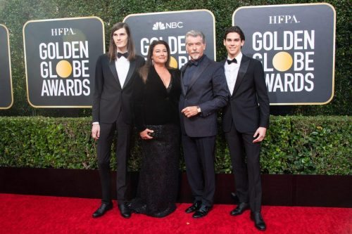 Golden Globe Ambassador, Dylan Brosnan, Keely Shaye Smith, Pierce Brosnan and Golden Globe Ambassador, Paris Brosnan arrive at the 77th Annual Golden Globe Awards at the Beverly Hilton in Beverly Hills, CA on Sunday, January 5, 2020.