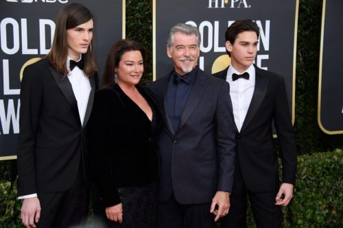 Dylan Brosnan, Keely Shaye Smith, Pierce Brosnan, and Paris Brosnan arrive at the 77th Annual Golden Globe Awards at the Beverly Hilton in Beverly Hills, CA on Sunday, January 5, 2020.