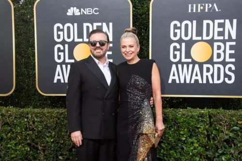 Host, Ricky Gervais and Jane Fallon arrive at the 77th Annual Golden Globe Awards at the Beverly Hilton in Beverly Hills, CA on Sunday, January 5, 2020.