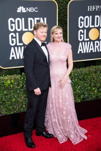Jesse Plemons and Nominee, Kirsten Dunst, arrive at the 77th Annual Golden Globe Awards at the Beverly Hilton in Beverly Hills, CA on Sunday, January 5, 2020.