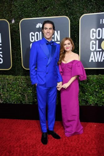 Nominee, Sacha Baron Cohen, and Isla Fisher arrive at the 77th Annual Golden Globe Awards at the Beverly Hilton in Beverly Hills, CA on Sunday, January 5, 2020.