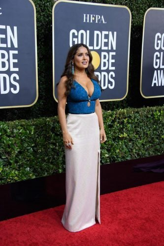 Salma Hayek arrives at the 77th Annual Golden Globe Awards at the Beverly Hilton in Beverly Hills, CA on Sunday, January 5, 2020.