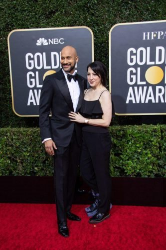 Keegan-Michael Key and Elisa Pugliese arrive at the 77th Annual Golden Globe Awards at the Beverly Hilton in Beverly Hills, CA on Sunday, January 5, 2020.