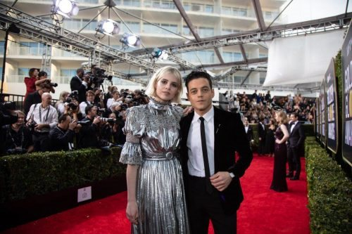 Nominee, Rami Malek, and Lucy Boynton arrive at the 77th Annual Golden Globe Awards at the Beverly Hilton in Beverly Hills, CA on Sunday, January 5, 2020.
