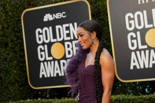 Angela Bassett arrives at the 78th Annual Golden Globe Awards at the Beverly Hilton in Beverly Hills, CA on Sunday, February 28, 2021.