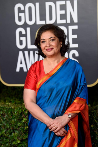 HFPA Board Member and Past President Meher Tatna,  arrives at the 78th Annual Golden Globe Awards at the Beverly Hilton in Beverly Hills, CA on Sunday, February 28, 2021.