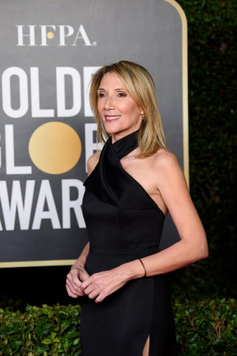 HFPA Vice-President Helen Hoehne arrives at the 78th Annual Golden Globe Awards at the Beverly Hilton in Beverly Hills, CA on Sunday, February 28, 2021.