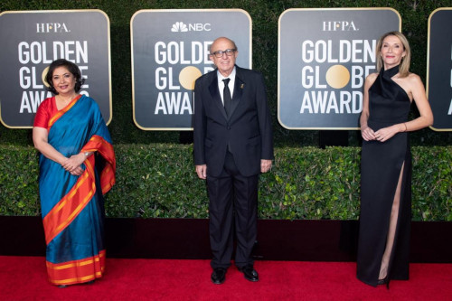 HFPA Board Member and Past President Meher Tatna, HFPA President Ali Sar and HFPA Vice-President Helen Hoehne arrive at the 78th Annual Golden Globe Awards at the Beverly Hilton in Beverly Hills, CA on Sunday, February 28, 2021.