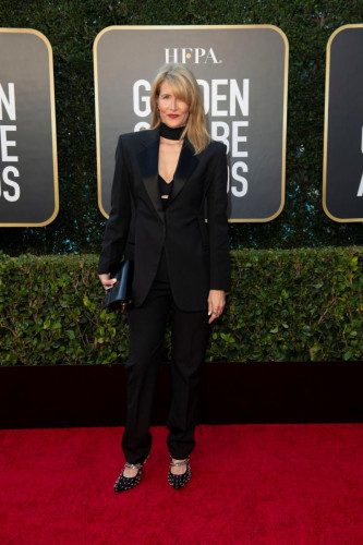 Laura Dern arrives at the 78th Annual Golden Globe Awards at the Beverly Hilton in Beverly Hills, CA on Sunday, February 28, 2021.