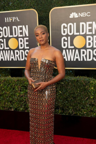 Tiffany Haddish arrives at the 78th Annual Golden Globe Awards at the Beverly Hilton in Beverly Hills, CA on Sunday, February 28, 2021.
