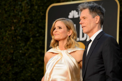 Kevin Bacon and Kyra Sedgwick arrive at the 78th Annual Golden Globe Awards at the Beverly Hilton in Beverly Hills, CA on Sunday, February 28, 2021.