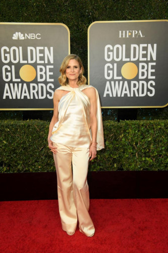 Kyra Sedgwick arrives at the 78th Annual Golden Globe Awards at the Beverly Hilton in Beverly Hills, CA on Sunday, February 28, 2021.