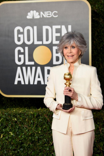 Cecil B. deMille Award recipient Jane Fonda poses with the trophy at the 78th Annual Golden Globe Awards at the Beverly Hilton in Beverly Hills, CA on Sunday, February 28, 2021.