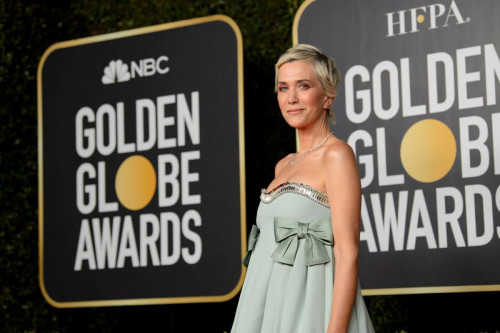 Kristen Wiig arrives at the 78th Annual Golden Globe Awards at the Beverly Hilton in Beverly Hills, CA on Sunday, February 28, 2021.