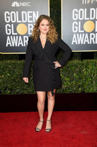 Annie Mumolo arrives at the 78th Annual Golden Globe Awards at the Beverly Hilton in Beverly Hills, CA on Sunday, February 28, 2021.