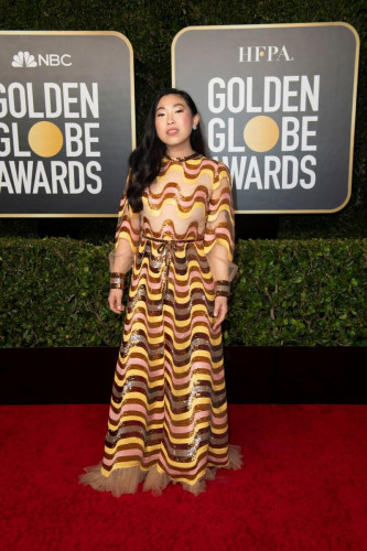 Awkwafina arrives at the 78th Annual Golden Globe Awards at the Beverly Hilton in Beverly Hills, CA on Sunday, February 28, 2021.