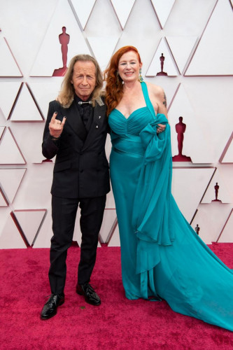 Oscar nominee Paul Raci and Elizabeth Hanley arrive on the red carpet of The 93rd Oscars at Union Station in Los Angeles, CA on Sunday, April 25, 2021.