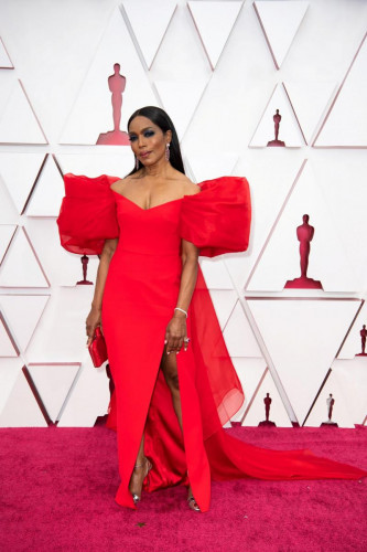 Angela Bassett arrives on the red carpet of The 93rd Oscars at Union Station in Los Angeles, CA on Sunday, April 25, 2021.