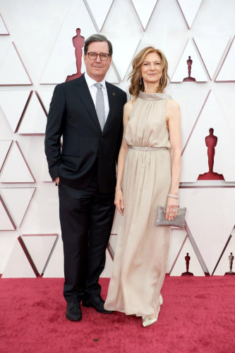 David Rubin and Dawn Hudson arrive on the red carpet of The 93rd Oscars at Union Station in Los Angeles, CA on Sunday, April 25, 2021.Iso: 100
