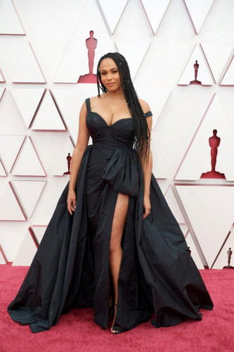 Nicolette Robinson arrives on the red carpet of The 93rd Oscars at Union Station in Los Angeles, CA on Sunday, April 25, 2021.