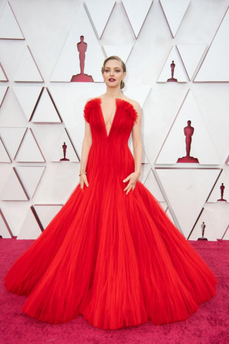 Oscar nominee Amanda Seyfried arrives on the red carpet of The 93rd Oscars at Union Station in Los Angeles, CA on Sunday, April 25, 2021.