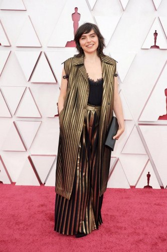 Oscar nominee Bianca Oana arrives on the red carpet of The 93rd Oscars at Union Station in Los Angeles, CA on Sunday, April 25, 2021.