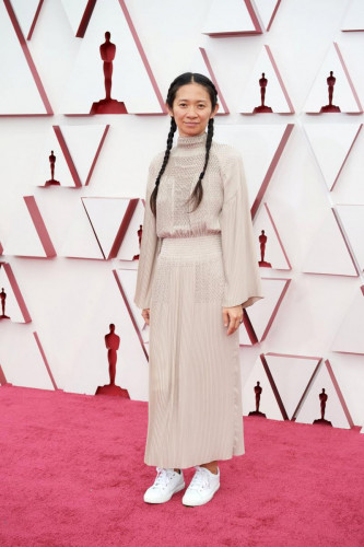 Oscar nominee Chlo Zhao arrives on the red carpet of The 93rd Oscars at Union Station in Los Angeles, CA on Sunday, April 25, 2021.