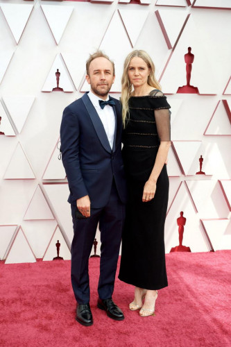 Oscar nominee Derek Cianfrance and Shannon Plumb arrive on the red carpet of The 93rd Oscars at Union Station in Los Angeles, CA on Sunday, April 25, 2021.