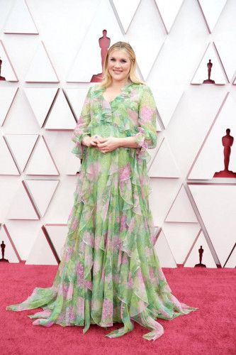 Oscar nominee Emerald Fennell arrives on the red carpet of The 93rd Oscars at Union Station in Los Angeles, CA on Sunday, April 25, 2021.