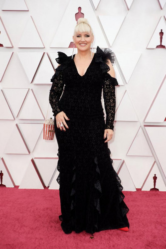 Oscar nominee Eryn Krueger Mekash arrives on the red carpet of The 93rd Oscars at Union Station in Los Angeles, CA on Sunday, April 25, 2021.